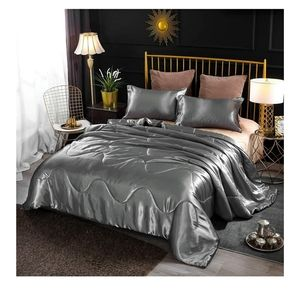 🆕️ Luxury Satin Silky Comforter Set Queen  Gray